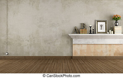 Empty vintage room with shelf in masonry - rendering