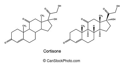 Cortisone - Structural chemical formulas of cortisone, 2D...