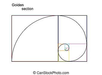 Golden section - Illustration of golden section ratio,...