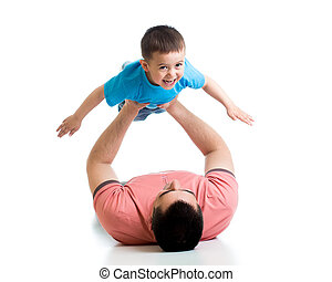 father playing with kid isolated on white