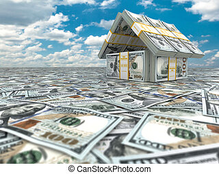 Bank. House from pack of dollars on cloudscape. 3d