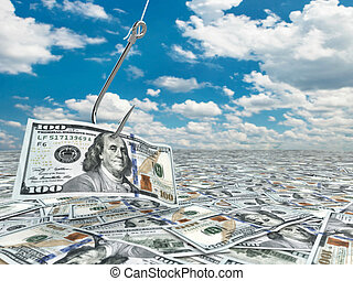 Dollar and fish-hook on cloudscape Financial concept 3d