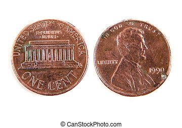 moneda, dólar, centavo, Uno