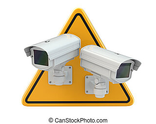 CCTV Camera. Video surveillance sign on white isolated...