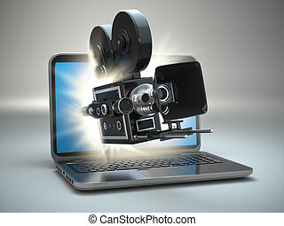 Video concept Retro camera and laptop 3d