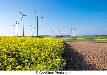 Rural landscape with windwheels seen in Germany