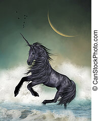 Unicorn in the ocean with big moon