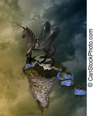 pegasus - Fantasy Landscape with pegasus and floating island