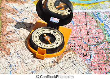 Compass and maps. Compass on the map - this is the open door...