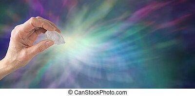 Crystal healing website banner - Crystal healer holding...