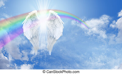 Angel Wings and Rainbow Banner - Blue sky background with a...