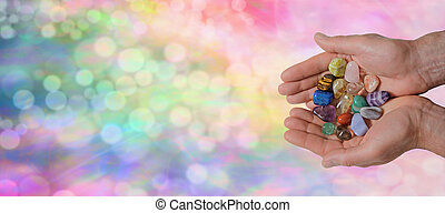 Male Crystal Healer on Rainbow Boke - Man holding a...