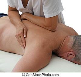 Therapist applying pressure - Female sport massage therapist...