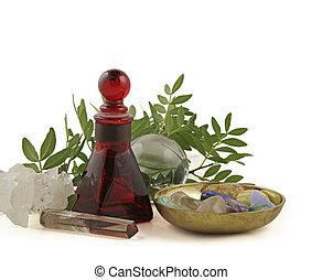 cristal, curación, hierbas, essentia