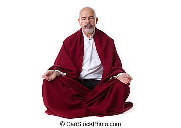 Mature male meditate - Mature male in the red shawl doing...