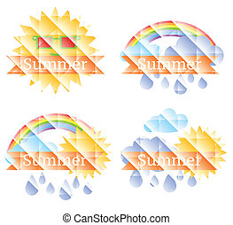 Background with sun, clouds, rainbow and rain