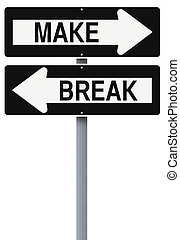 Make Or Break - Modified one way street signs indicating...