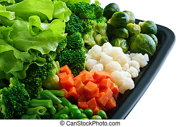 Healthy food: cauliflower, brussels sprouts, broccoli,...