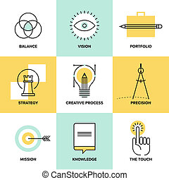 Creative process design flat line icons - Creative design...
