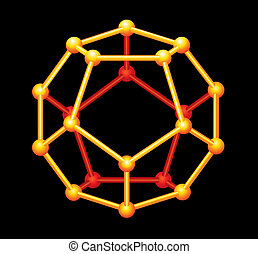 dodecahedron, oro, Tridimensional