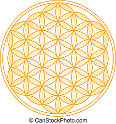 Flower of Life Golden Gradient - Geometrical figure,...