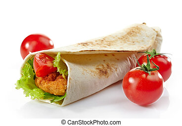 Wrap with fried chicken and vegetables on a white background