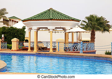 verão, C, Pavilhão, convés, piscina, recurso, paisagem,...
