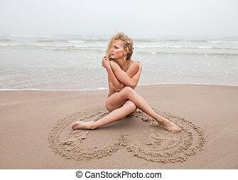 mulher, pelado, mar, nebuloso, praia, Dia