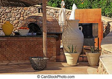 Al aire libre, Egipto, mostrador, madera, café, redondo,...