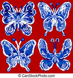 Abstract butterfly - Abstract  butterfly grunge draw set