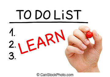 Learn To Do List - Hand writing Learn in To Do List with red...