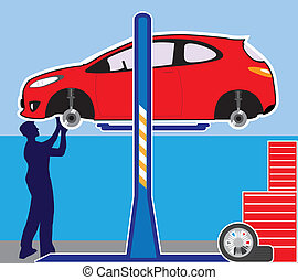 Autoshop  - car and mechanic illustration clip-art image