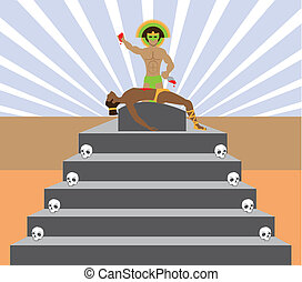 Aztec Sacrifice - aztec sacrifice vector illustration...