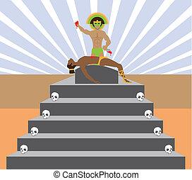 Aztec Sacrifice - aztec sacrifice vector illustration...