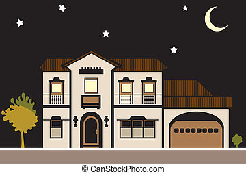 Mansion Night - mansion night vector illustration house...