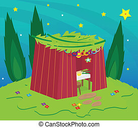Sukkah At Night - Sukkah on a hill under the stars...