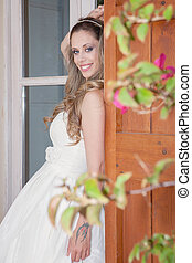 pretty woman dressed for party, prom or graduation