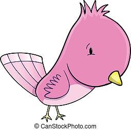 Cute Pink Bird Vector Illustration