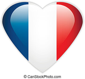 France flag button - France flag button on a white...
