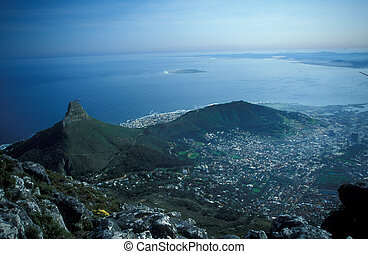 Cape Town - View of Cape Town from Table Mountain The rugged...