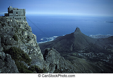 Table Mountain Cable Car - Cable car station on top of table...