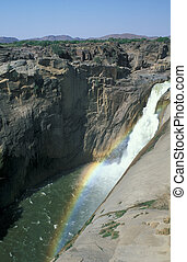 Augrabies Waterfall - Waterfall plunging over cliff into...