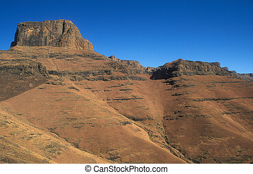 Drakensberg Mountains - Rugged peaks and cliffs of the...