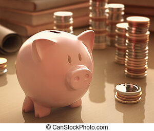 Piggy Bank - Gold coins and silver around the piggy bank