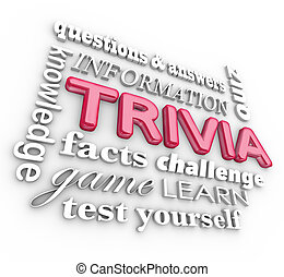 Trivia 3d Word Collage Game Questions Answers Quiz - Trivia...
