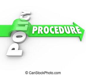 procedimiento, flecha, Saltar, encima, política,...