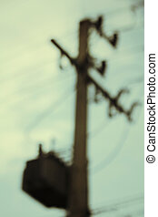 high voltage post  - Blurred of high voltage post