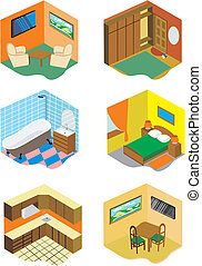 Set of images of rooms in the house