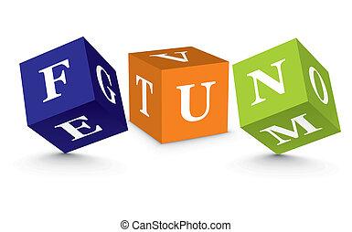 Word FUN written with blocks