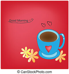 coffee - vector coffee mug and flowers on red background